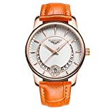 Guanqin Femme analogique en acier inoxydable et cuir véritable Calendrier imperméable montre à quartz Doré Orange