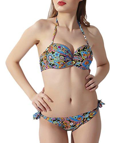 BOLAWOO Bikini Mujer Verano Vintage Estampado Tankini Elegantes Sin Espalda Halter Vacaciones...