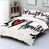 Juego de funda nórdica, I Heart Family, estilo de pictograma de escritura...