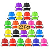 KUUQA 22 Pcs Drawstring Backpack Bag with Reflective Strip,String Backpack Bulk Cinch Sack Tote Bags for Yoga Sport Gym Traveling (11 Colors)