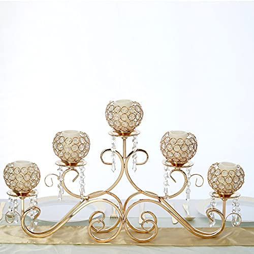 Tableclothsfactory 5 Arm 16' Crystal Chandelier Gold Metal Horizontal Table Standing Candelabra Wedding Centerpiece Candle Holder
