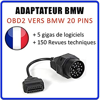 Goldplay 20pin connecteur de C/âble Adaptateur vers OBD OBDII 16pin C/âble de Diagnostic pour BMW E36/E46/E38/E39/E53/X 5/Z3