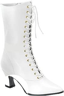 120 Ladies Size 8 White Victorian Granny Boot w Side Zipper