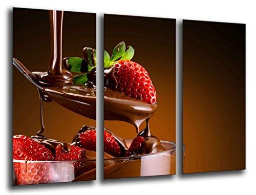 Muurschildering - nachtkastje aardbei met chocolade, 97 x 62 cm, houtdruk - XXL formaat - kunstdruk, ref.26262