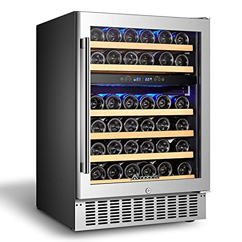 【Upgraded】AAOBOSI 24 Inch Dual Zone Wine Cooler 46 Bottle Freestanding and Built in Wine Refrigerator with Advanced Cooling System, Quiet Operation, Blue Interior Light | Easily Store Larger Bottles