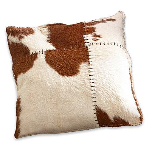 Loberon kussen Paulina, koeienhuid/polyester, H/B ca. 45/45 cm, bruin/wit