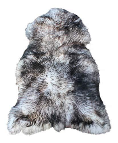 Vogar Tapis en Peau de Mouton véritable avec Laine Douce et épaisse VG-SH020, Creme/Noir 90-100cm