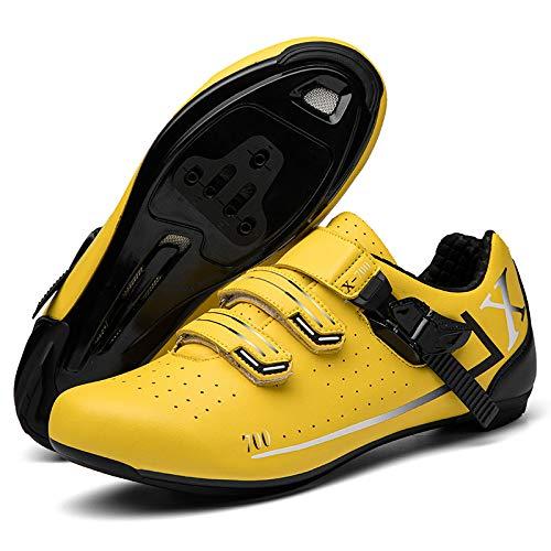 KUXUAN Zapatillas de Ciclismo de Carretera Montaña Transpirables de Suela Dura para Hombres y Mujeres,Yellow-Road-Lock-(275mm)=45EU