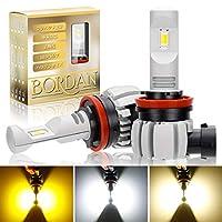 【無極性3色切替】BORDAN H8/H11/H16 LEDフォグランプ 3色切り替え ホワイト(6000K)/イエロー(3000K)/ハロゲン色(4500K) 車検対応 12000LM DC12-24V 車用LEDバルブ 2個セット 1年保証