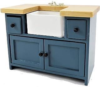 Melody Jane Casa de Muñecas Azul & Madera de Pino Fregadero Unidad con Belfast Fregadero Moderno Muebles de Cocina