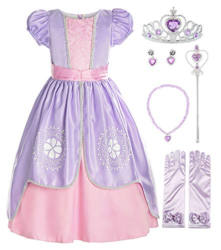 ReliBeauty Girls Short Sleeve Costume Princess Dress with Accessories, Lilac, 5/130
