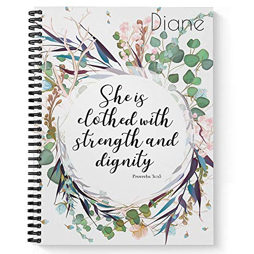 """Clothed With Strength Personalized Religious Notebook/Journal, Laminated Soft Cover, 120 pages of your selected paper, lay flat wire-o spiral. Size: 8.5"""" x 11"""". Made in the USA"""