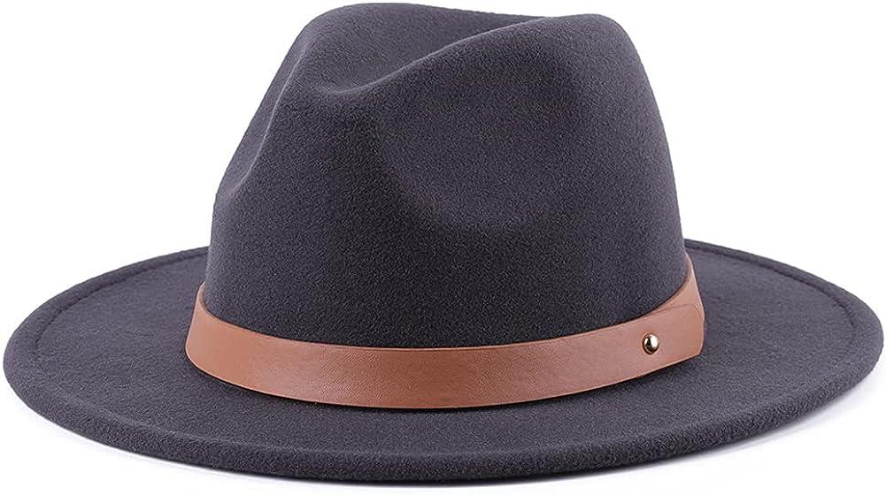Womens Winter Spring Felt Leather Band Fedora Hat, Wide Brim Stylish Cap for Women