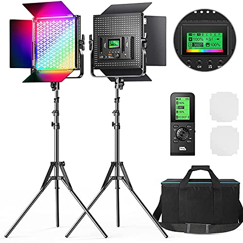 Pixel K80 RGB Video Light with Wireless Remote, 2600k-10000k CRI 97+ Full Color Photography Lighting...