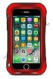 LOVE MEI Funda para iPhone 7 Plus, de cuerpo completo, de aluminio resistente, resistente a los golpes, resistente a los golpes, carcasa resistente (con vidrio templado) (5.5 pulgadas, rojo)