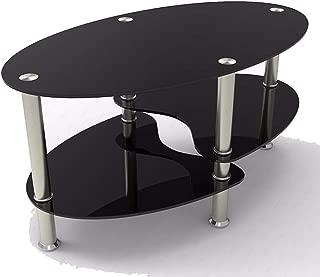JedaJeda Coffee Table Shelf Tempered Clear/Black Glass Oval Side Chrome Base Living Room (Black)