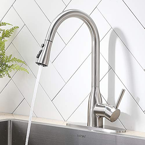 Stainless Steel Kitchen Faucet with Pull Down Sprayer,High Arc Brushed Nickel Single Handle Pull Out Kitchen Sink Faucets with 3 Modes Sprayer.