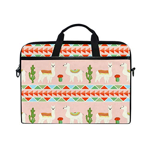 HAIIO Laptop Bag Case Tribal Cactus Alpaca Pattern Computer Protector Bag 14-14.5 inch Travel Briefcase with Shoulder Strap for Women Men Girl Boys