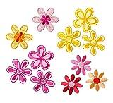 Mono-Quick Nummer 315 Aufbügelbilder Blumen Set, 11 teilig, Blumenmotive, 3,5 x 3,5 cm, bis 4,5 x 4,5 cm, Satinstoff, Organza, Stickerei aus Viskosegarn