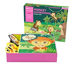 DISCOVERY TOOL WITH A TWIST- As children manipulate the eyes and mouth pieces to make Monkey Expressions, they develop an understanding of their own thoughts and feelings. They show what they feel- happy, sad, angry, surprised or scared. EMOTIONAL IN...