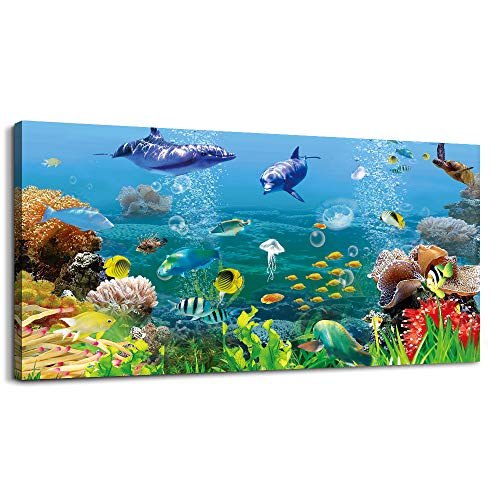 MHARTK66 Canvas Wall Art - Coral and Fish Modern Home Decor Stretched and Framed Ready to Hang Ocean Theme Sea Fish and sea Turtles Mediterranean Style Canvas Prints The living room large Wall Decor