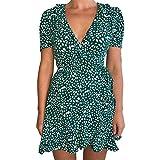ReooLy Vestido Informal de Faja con Estampado de Flores geométricas de Manga Corta con Cuello en V para Mujer (Verde,L)