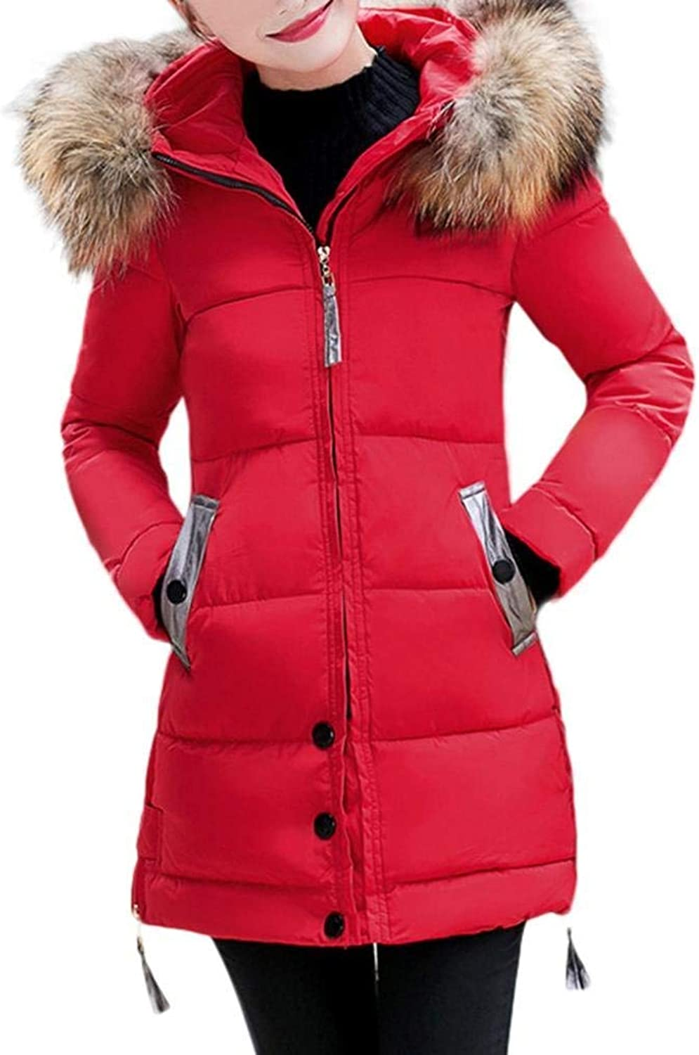 Oudan Women Slim Hooded Down Padded Long Winter Warm Parka Outwear Jacket Coat (color   Red, Size   L)