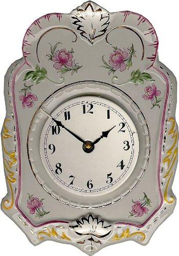 Porzellan Wanduhr Pink-Gold handgemalt, Quarzuhr