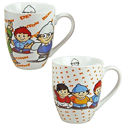 Keramik Tassen | Mainzelmännchen – Set für 2 | ca. 320 ml | 2er Set Henkel-Becher im Geschenk Karton