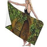 Forest Trees Backdrop Toalla Wrap Bath Womens SPA Ducha y Envoltura Toallas Natación Albornoz Cover Up para Damas Niñas ^ 80X130 Cm