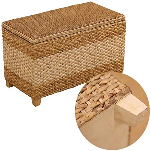 DHFDHD Storage Basket Storage Stool Rattan Wicker Ottoman Basket Shoe Cabinet Sofa Stool Mall Shoe Store Footstool Multi-Function Storage Footrest (Color : Natural, Size : 60x30x40cm)