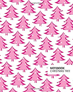 Christmas Tree Notebook: (White Pink) Fun notebook 192 ruled/lined pages (8x10 inches / 20.3x25.4 cm / Large Jotter)