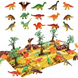 STEAM Life 46 Piece Mini Dinosaur Toy Set - Dinosaur Toys for 3 4 5 6 Year Old Boys and Girls - STEM Toys Dinosaurs Toy Set 36 Dinos a Playmat and Props - Triceratops Pterodactyl and T-Rex Toys