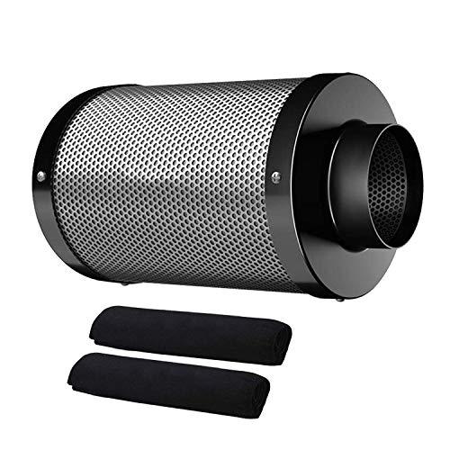 Hon&Guan Filtro de Carbón Activado 150mm - 384m³/h Filtro de Ventilador para Aspirador de Aire, Carpas Hidropónicas, Tienda de Cultivo Growbox(Filtro de Carbono 150mm - Negro)