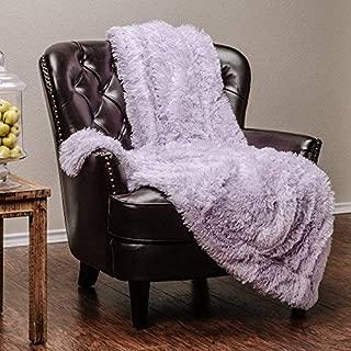 Chanasya Super Soft Shaggy Longfur Throw Blanket   Snuggly Fuzzy Faux Fur Lightweight Warm Elegant Cozy Plush Microfiber Blanket   for Couch Bed Chair Photo Props - (50x65)- Light Purple Orchid