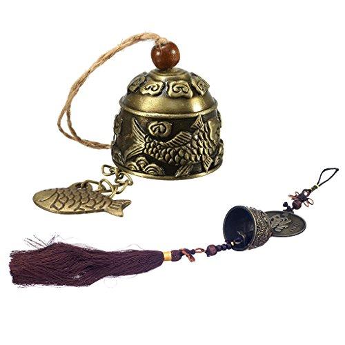 Bonarty 2 Stücke Retro China Meditation Messing Buddhistischen Tempel Feng Shui Glocke Gebet Windspiel Hängende Dekoration