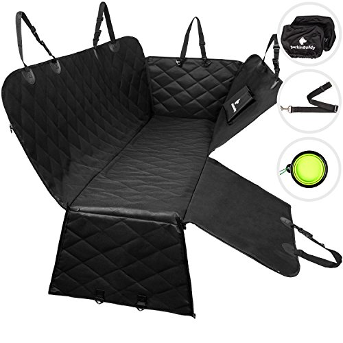 BarkinBuddy Back Seat Cover for Dogs - Car Dog Hammock for Back Seat - Full Doors Protection -...