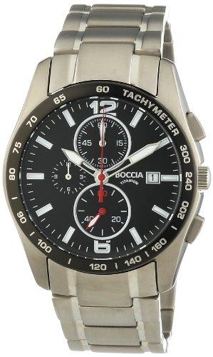 Boccia 3767-02 - Reloj cronógrafo de Cuarzo para Hombre, Correa de Titanio Color Plateado
