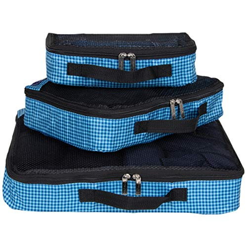 Ben Sherman 3-Piece (Small, Medium, Large) Lightweight Durable Printed Organizer Packing Cube Travel Set for Luggage, Navy Checkered, One Size