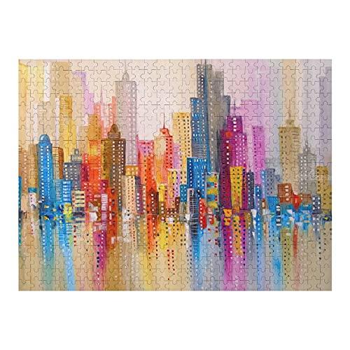 Houten puzzel 500 PCS voor volwassenen en kinderen,Abstracte kleurrijke regenboog stadsgezicht moeilijke uitdaging…