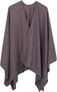 Women's Large Long Blouse Open Front Poncho Shawl Sheer Loose Kimono Capes With Belt Ponchos For Women