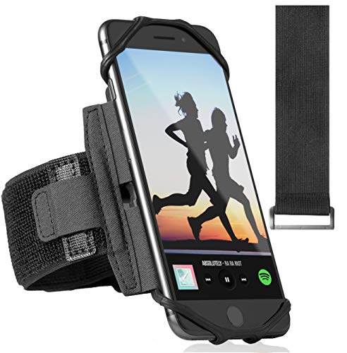 360° Rotatable Premium Sports Running Armband for All Phones: iPhone 12, 12 Pro Max 11 Pro 8 Plus, Samsung Galaxy S20 S10 S9 S8 Edge, LG, HTC, Pixel; Universal Cellphone Holder + Free Extender Strap