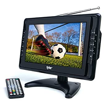 """Tyler 10"""" Portable TV LCD Monitor 1080P Rechargeable Lithium Battery Operated 3 Antenna HDMI SD USB RCA FM Radio Digital Tuner AV Inputs AC/DC TV Stand and Remote Control For Kids Car Travel"""