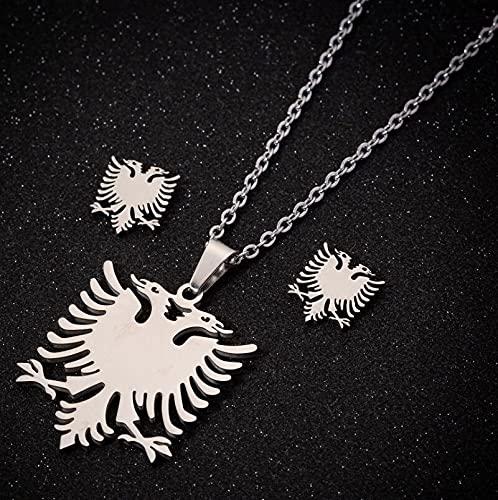 NETUPQ collarHfarich Doble Cabeza águila Conjuntos de Joyas Hombres Colgantes de pájaros Collares de Acero Inoxidable Pendientes Mujer Bandera albanesa Gargantilla