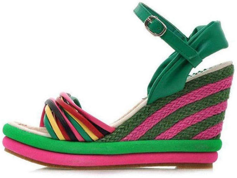 Hoxekle Women Summer Sandals Boho color Block Women Wedges Sandal Straw Braid Platform Espadrilles High Heel Sandal