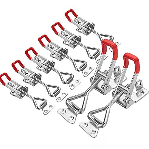 Morsetto a Leva In Metallo - 8 Pezzi Chiusura a Leva Regolabile in Metallo - 4001 Morsetto Piccolo Regolabile per Scatole di Armadi, Porte e Finestre, Scatole