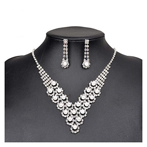 ZCPCS Pendientes del Collar de la joyería de la Novia Dos Conjuntos de Accesorios de Boda de la Corona de la Boda Rojos Joyas de Perlas Coreanas (Color : Silver)