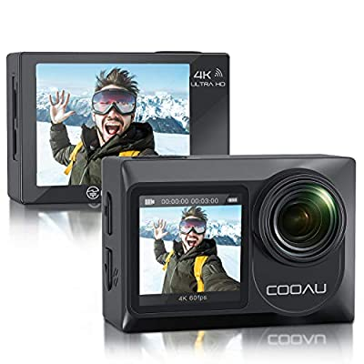 COOAU Sports Action Camera Dual Screen Ultra HD 4K 60FPS 20MP WiFi EIS Touchscreen External Microphone Remote Control Underwater 131 Feet Waterproof Helmet Vlogging Camera with 2x1350mAh Batteries. from COOAU