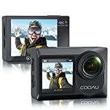 COOAU Sports Action Camera Dual Screen Ultra HD 4K 60FPS 20MP WiFi EIS Touchscreen External Microphone Remote Control Underwater 131 Feet Waterproof Helmet Vlogging Camera with 2x1350mAh Batteries.