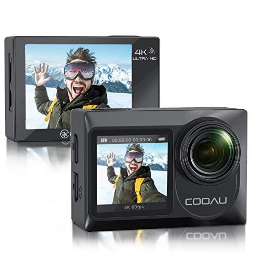 COOAU Cámara de acción Nativa 4 K 60 fps 20 MP Touch Screen Wi-Fi con doble pantalla LCD EIS Anti-Shake, funda cámara sumergible sumergible sumergible 40 m con micrófono externo, 2 pilas 1350 mAh